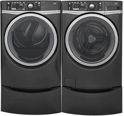 """GE Diamond Grey Front Load Laundry Pair with GFW480SPKDG 28"""""""