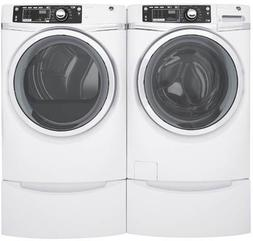 """GE White Front Load Laundry Pair with GFW480SSKWW 28"""" Front"""