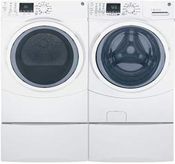 """GE White Front Load Laundry Pair with GFW450SSMWW 27"""" Washer"""