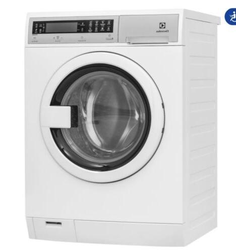 white front load steam washer