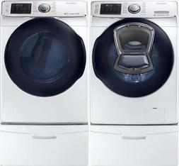 Samsung White Washer and Gas Dryer and Pedestals WF45K6500AW